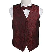 Epoint EGE1B.01 Exporters Waistcoat Paisley Microfiber Vest Pre-Tied Bow Tie