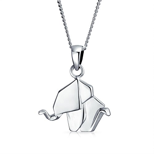 (3D Small Origami Elephant Zoo Animal Pendant Necklace For Women For Teen Polished 925 Sterling Silver)
