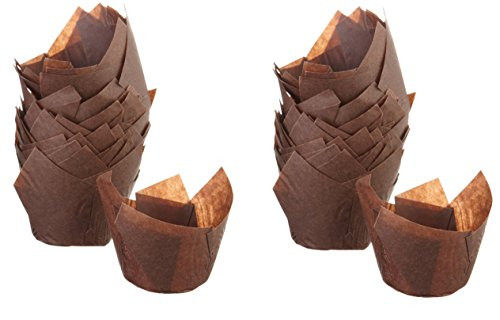 Tulip Baking Cups - Brown Cupcake Papers - Greaseproof Material (2-Pack (96-Count))