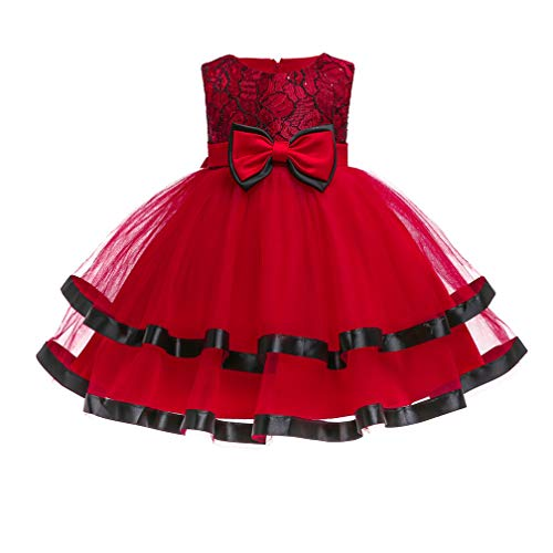 Girls Princess Cinderella Costume Dress Halloween Party Fancy Dress (Red,24M) -