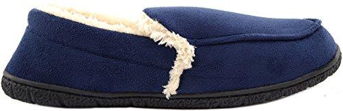 Pantoufles En Molleton Doux Pour Hommes / Chaussures Dintérieur Avec Intérieur En Fausse Fourrure Chaude Marine
