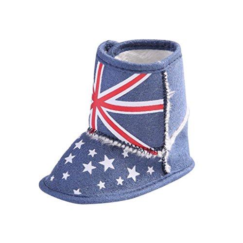 Hunpta Kleinkind Kleinkind Baby britische Flagge Gösch weichen Sohle Stiefel Krippe Schuhe Lauflernschuhe Krabbelschuhe Babyschuhe (12, Weiß) Blau