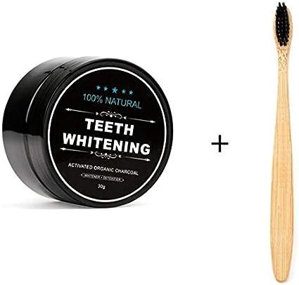 Blanqueador dental carbon activado Teeth whitening Cepillo de dientes en polvo de blanqueamiento de dientes de bambú de carbón activado orgánico natural para mujeres y hombres - Negro