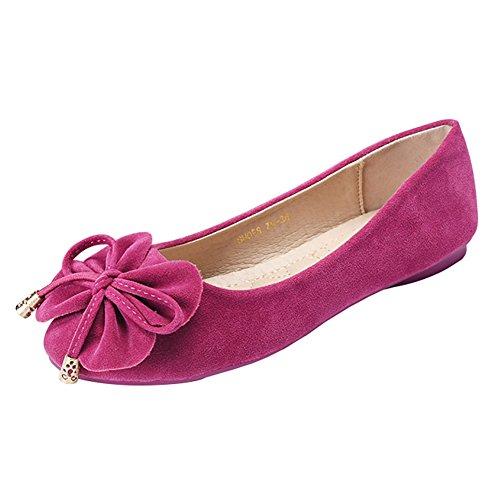 Meeshine Vrouwen Casual Strik Mocassins Rijden Loafers Slip Op Platte Schoenen Roos 01