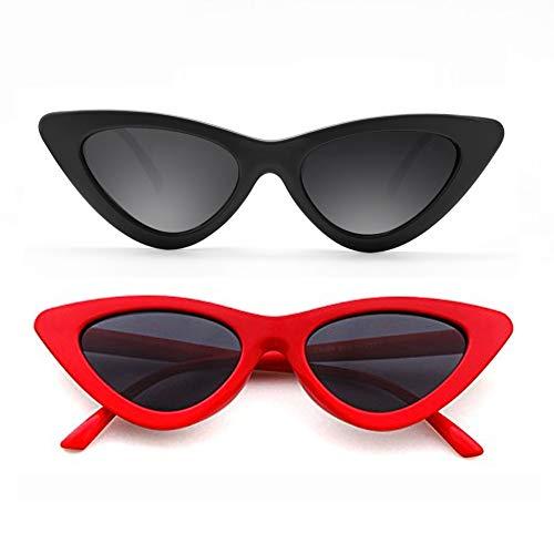 Cat Eye Sunglasses for Women Red Black Retro Style Plastic Frame UV Protection 2 ()