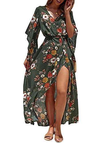Miessial Women's Boho V Neck Floral Chiffon Dress Backless Beach Split Maxi Dress with Belt Green ()