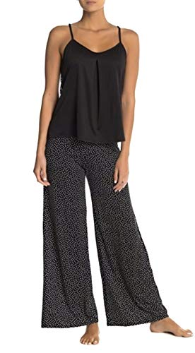 (In Bloom by Jonquil Women's Polka Dot Jersey Knit Cami Pant Set (M) Black/Ivory)