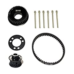 Most popular gear ratio used. DIYE 36 teeth pulley for use with 83mm/90mm/97mm/100mm wheels on electric skateboards or longboards. Will fit flywheels and clones.       Drive Pulley Material: Aluminum       Motor Pulley Material: Steel...