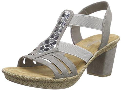 Rieker 66558 Women Open Toe, Women's Open Toe Sandals Grey (Staub)