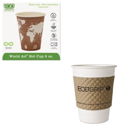 KITECOEG2000ECOEPBHC8WA - Value Kit - ECO-PRODUCTS,INC. World Art Renewable Resource Compostable Hot Drink Cups (ECOEPBHC8WA) and ECO-PRODUCTS,INC. EcoGrip Recycled Content Hot Cup Sleeve (ECOEG2000)
