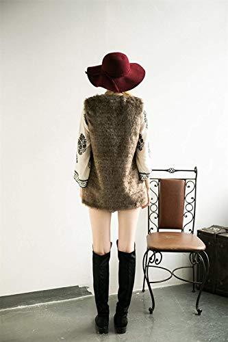 Hiver Braun Gilet Haute Qualité V Sans Warm Manteau Blouson De Fourrure Mode Confortable Automne Chic Femme cou Bolawoo Casual Manches Art ZdAqgpRqwx