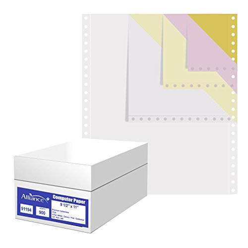 Alliance Premium Carbonless Computer Paper, 9.5 x 11, Blank Left and Right Perforated, 15 lb, 4-Part White/Canary/Pink/Golden (900 Sheets) - Made In the USA