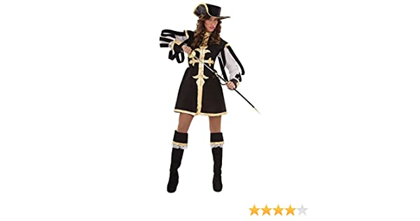 Disfraz de Mosquetera negra para mujer: Amazon.es: Juguetes y juegos
