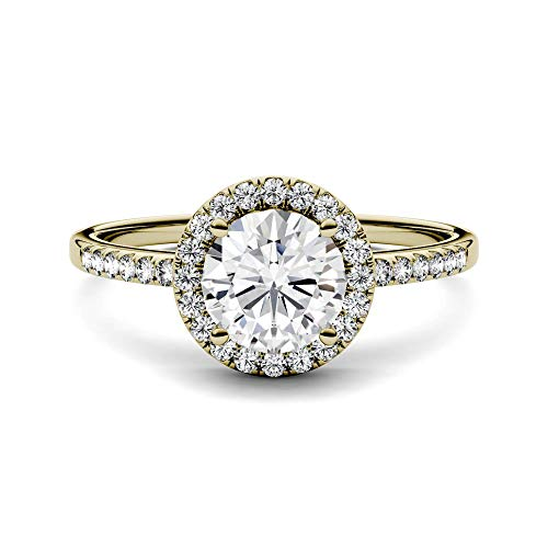Moissanite Yellow Ring - 14K Yellow Gold Moissanite by Charles & Colvard 6.5mm Round Halo Engagement Ring-size 7, 1.30cttw DEW