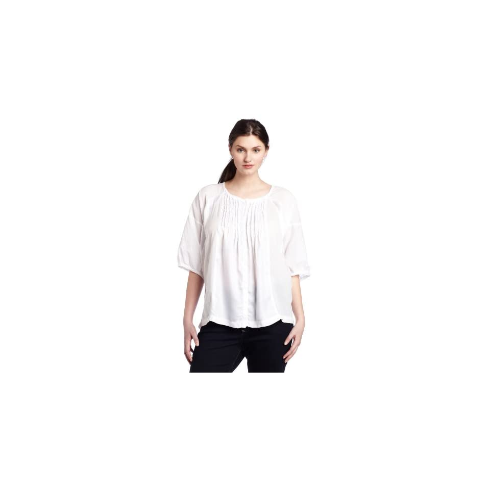 Calvin Klein Jeans Womens Plus Size Dolman Sleeve Shirt, White, 2X