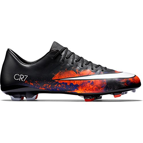 Nike Junior Mercurial Vapor X CR7 Firm-Ground Soccer Cleats (5) Black/White ()