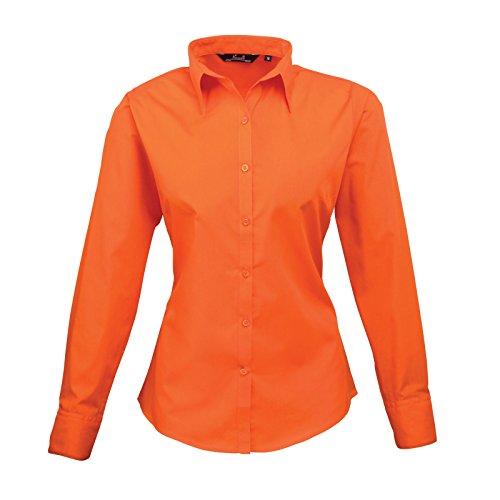 Premier Women 's formal Poplin Long Sleeve Camiseta naranja