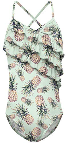 UNICOMIDEA Girls Hawaiian Bathing Suits Cute Pineapple Ruffle Swimsuits Thin Straps One Piece Green Beach Suits,8-10 Years]()