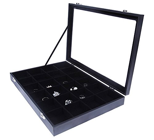 Black Velvet Jewelry Display - Storage Tray Organizer for rings, Cuff Links, Stud Earrings - 14'' by Juvale (Image #4)