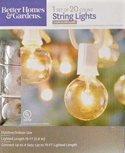 Better Homes and Gardens 20 CT String Lights Clear Glass Globe Outdoor Indoor (White Wire) (Better Garden Homes And Gardens Lights)