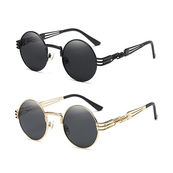 Dollger John Lennon Round Sunglasses Steampunk Metal Frame 4