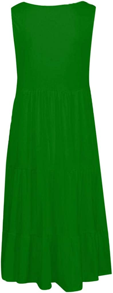 Nmch/_Women Clothes Women Solid Sleeveless Vest Maxi Dress Loose Tunic Dress Beach Holiday Dress Nmch