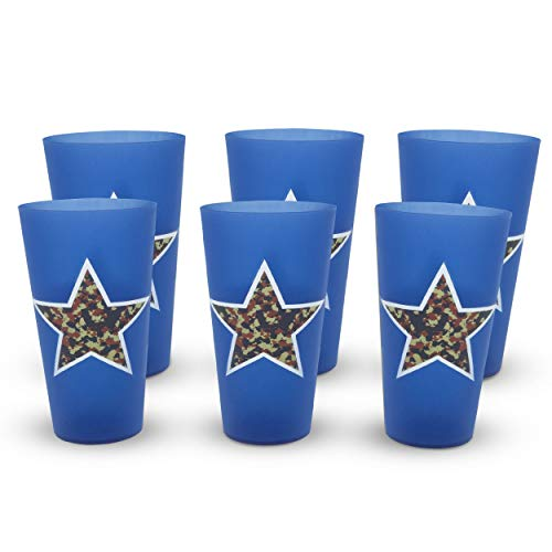 32 Ounce Stadium Cup - eXpace 32 oz Plastic Tumblers Stadium Cups, Military Blue, 6 Pack