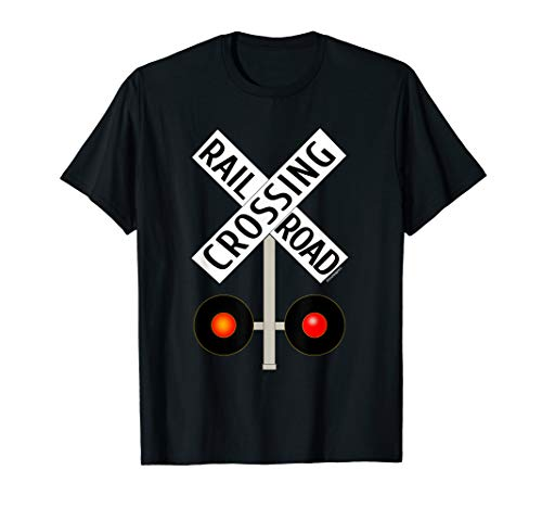 Train Railroad Crossing with Lights road sign T-shirt