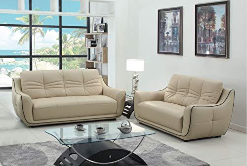 Blackjack Furniture 2088-BEIGE-2PC The Radford Collection 2-Piece Leather Living Room Sofa Set, Beige