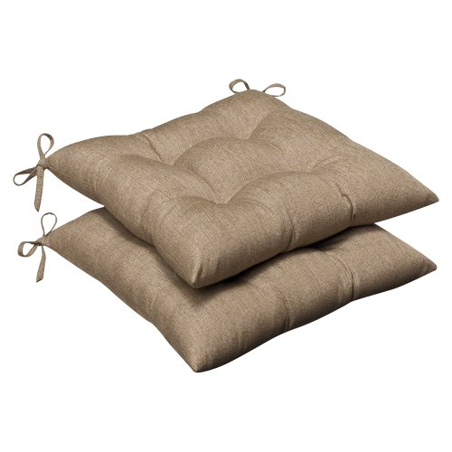 Indoor Fabric Seat Cushions - Pillow Perfect Indoor/Outdoor Wrought Iron Seat Cushion (Set of 2) with Sunbrella Linen Sesame Fabric, 19 in. L X 18.5 in. W X 5 in. D