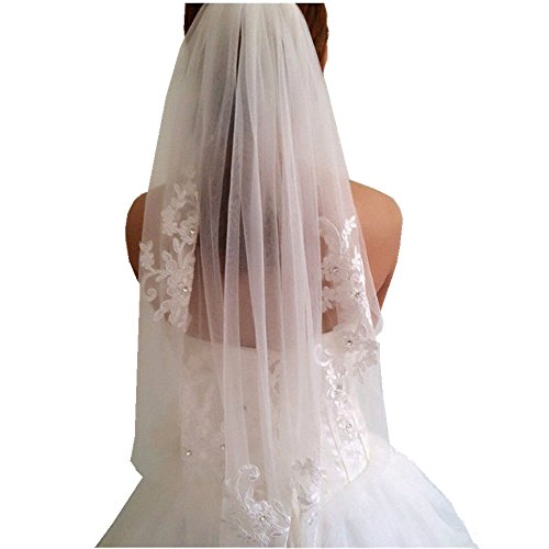 1 T White/Ivory Wedding Bridal Veil With Comb Elbow length Wedding Veil Lace Bridal Veil (Ivory) by GIDION