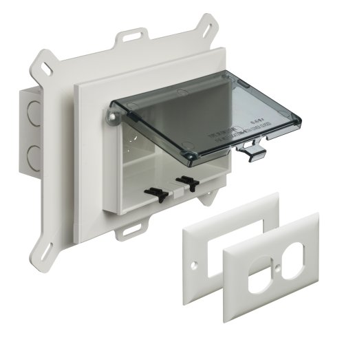 Arlington DBHS1C-1 Low Profile IN BOX Recessed Outlet Box Wall Plate Kit for New Vinyl Siding Construction, Horizontal, 1-Gang, Clear