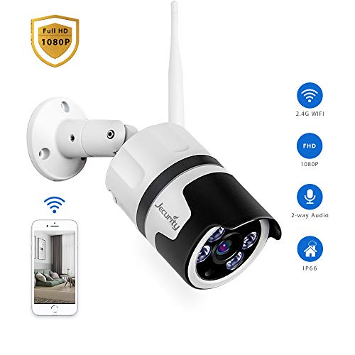 [2019 Upgraded Model] Outdoor Security Camera Wireless, Jecurity 1080P WiFi Surveillance Camera with Full Color Night Vision, Siren Alarm, Two-Way Audio, Motion Detection, Waterproof, MicroSD Support