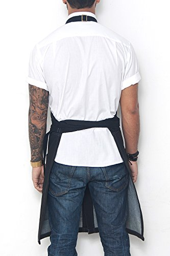 Under NY Sky No-Tie Blackout Black Apron – Coated Denim with Leather Reinforcement, Split-Leg, Adjustable for Men and Women – Pro Barber, Tattoo, Barista, Bartender, Hair Stylist, Server Aprons by Under NY Sky (Image #2)