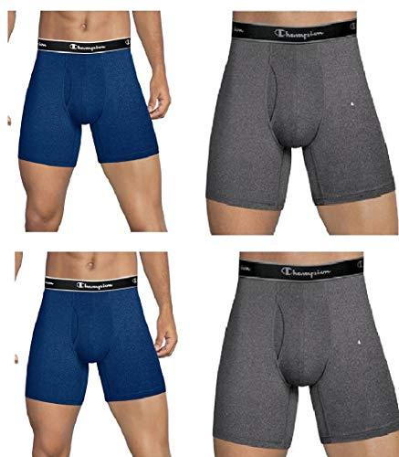 Boxer Brands Clothing - Champion Mens Elite SmartTemp Boxer Briefs,4-pack (Medium, Grey-Blue)
