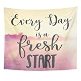 Emvency Tapestry Wall Hanging Dream Quote Every Day is Fresh Start Summer Breathe Friendship Just Beach Blur Polyester Fabric Home Decor for Living Room Bedroom Dorm 50x60 Inches