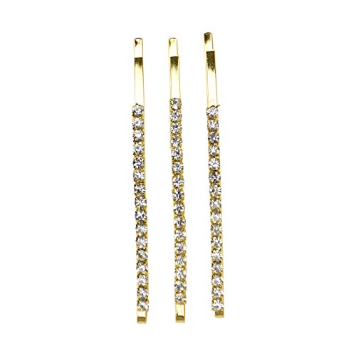 Gold Bridal Hair Clip Bobby Pin With Colored Stones | 3 Count | -