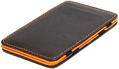 Mens Fashion Faux Leather Credit Card Id Money Clip Slim Wallet Holder