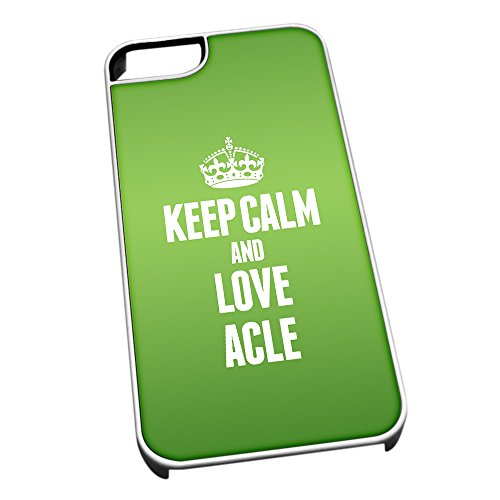 Bianco cover per iPhone 5/5S 0002verde Keep Calm and Love Acle