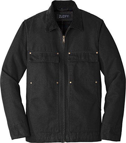 ZUZIFY Insulated Flannel Lined Washed Duck Cloth Chore Coat. SM1125 3XL Black