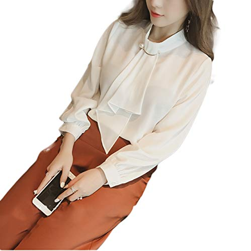 Thx Style Women's Casual Office Blouse Shirts Tops Bow Tie Neck Long Sleeve Chiffon (l, White) Shoulder Sale midi tie Tunic Coral Special Occasion Sheath Maroon Halter Pageant Tea Carpet ()