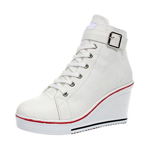 Women's Canvas High-Heeled Platform Wedge Fashion Sneaker Pump Shoes #5 White Label 41 - US 9