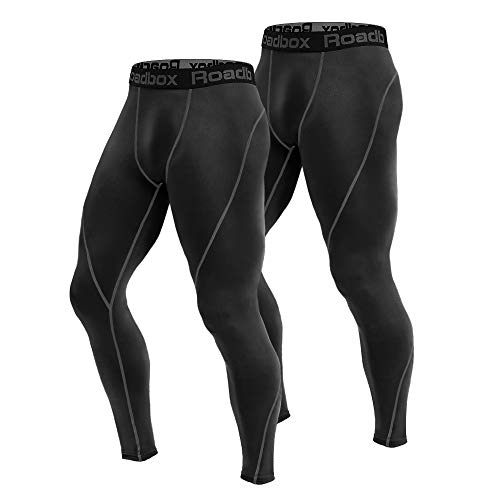 Roadbox 2 Pack Men's Compression Pants Workout Warm Dry Cool Sports Leggings Tights Baselayer for Running Yoga