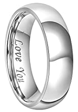 CROWNAL 4mm 6mm 8mm Titanium Couple Wedding Bands Rings Men Women Dome Polished Engraved I Love You Comfort Fit Size 4 to 16 (6mm,14)