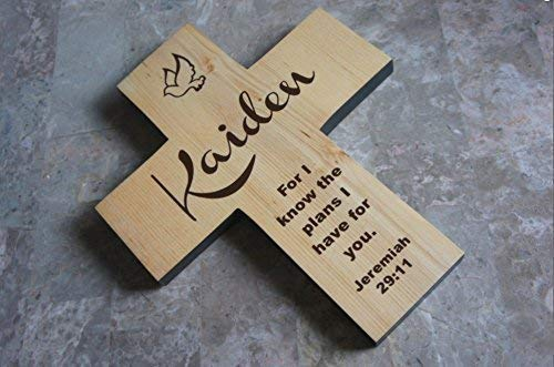 Baptism gift for boy or girl - Cross Personalized with name and/For I know the plans I have for you. Jeremiah 29:11