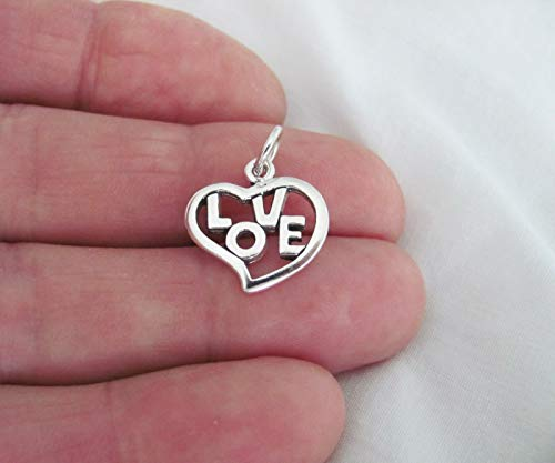 Pendant Jewelry Making/Chain Pendant/Bracelet Pendant Sterling Silver Love Heart Outline Charm