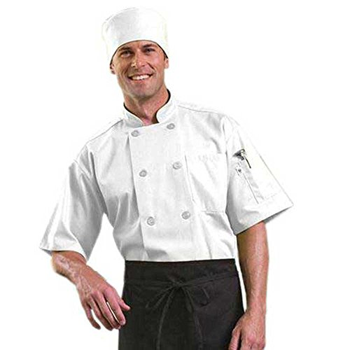 Short Sleeve Chef Coat with Mesh Back (White, L) by ChefsCloset