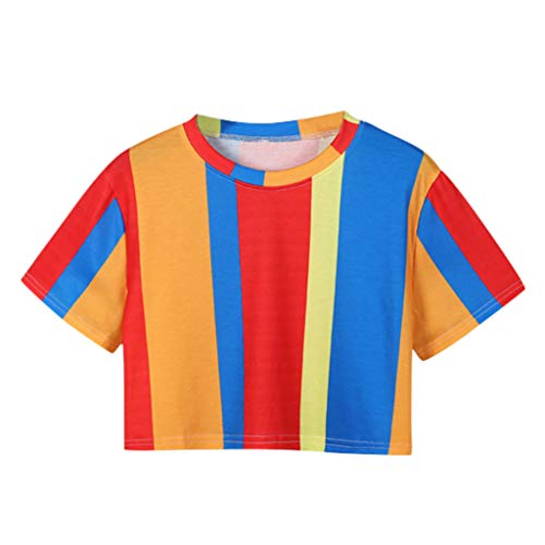 Sunhusing Ladies Summer Simple Rainbow Stripe Print Short Sleeve T-Shirt Casual Loose Short Crop Tops ()