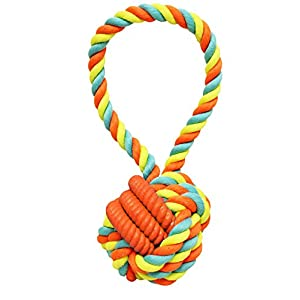Boss Pet Chomper extra tough & Colorful Knoted Rope & TPR Coiled Tug Dog Toy - Medium Size Dog Toy, Multi