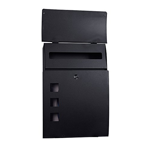 Wall Mounted Mailbox Large Outdoor Black Metal Lockable